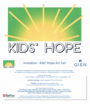 «Kids' Hope Art Fair» @ Faienceries de Gien, Bruxelles, Belgique (Novembre 2017)