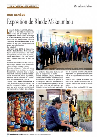 Rhode Makoumbou in «Afrique Education», tijdschrift n° 429 (ma 14 dec 2015)
