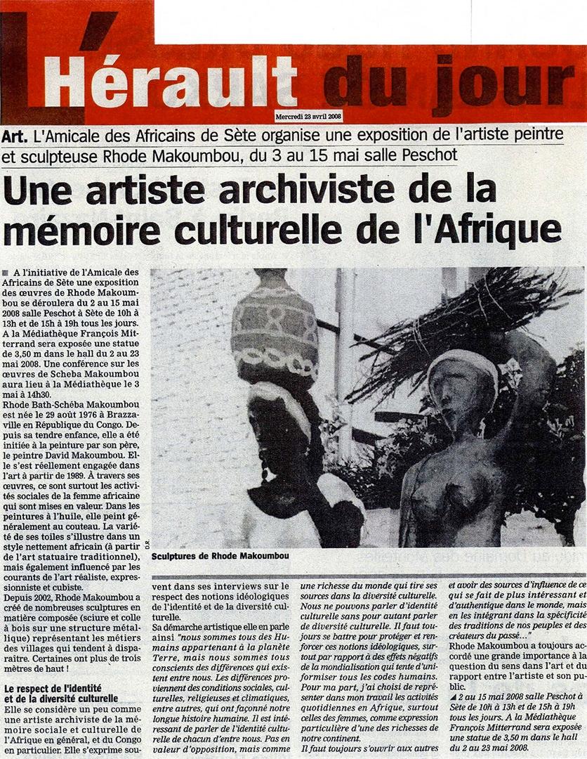 journal l 39 h rault du jour une artiste archiviste de la m moire culturelle africaine. Black Bedroom Furniture Sets. Home Design Ideas