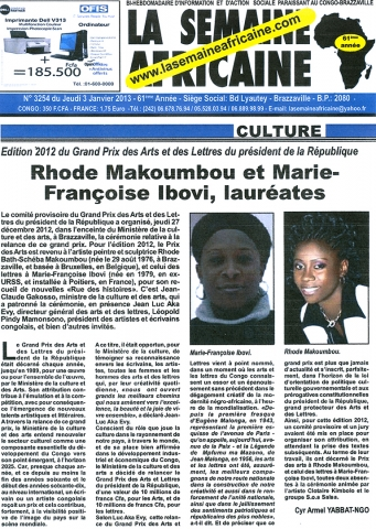 Rhode Makoumbou in «La Semaine Africaine», krant n° 3254 (do 03 jan 2013)