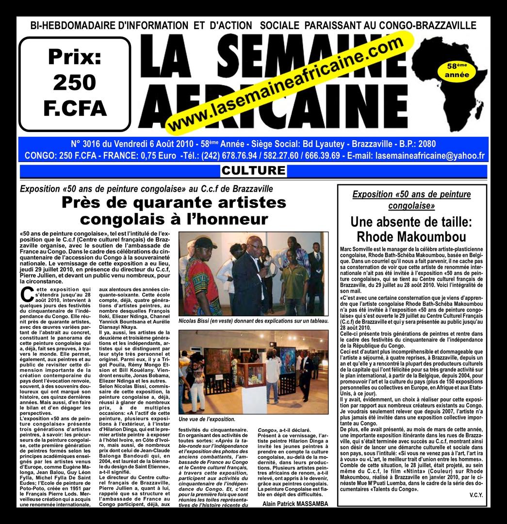 journal  u00abla semaine africaine u00bb    u00abune absente de taille