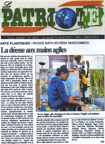 Rhode Makoumbou in «Le Patriote», krant n° 4015 (do 11 apr 2013)