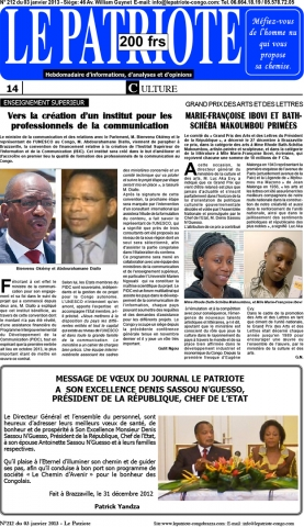 Rhode Makoumbou in «Le Patriote», krant n° 212 (do 03 jan 2013)
