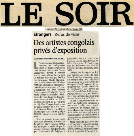 Rhode Makoumbou in «Le Soir» (za 26 jun 2004)