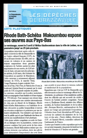 Rhode Makoumbou in «Les Dépêches de Brazzaville», krant n° 963 (do 08 apr 2010)