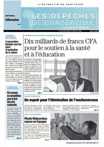 Rhode Makoumbou in «Les Dépêches de Brazzaville», krant n° 780 (do 23 jul 2009)