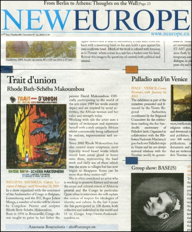 Rhode Makoumbou in «New Europe», krant n° 860 (zo 15 nov 2009)
