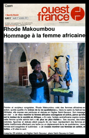 Rhode Makoumbou in «Ouest France», krant n° 20431 (do 27 okt 2011)