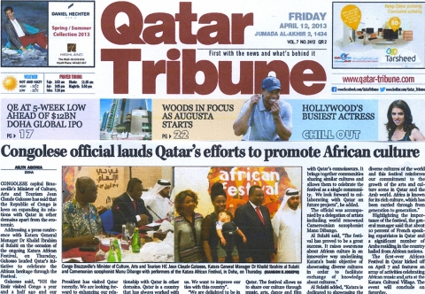 Rhode Makoumbou in «Qatar Tribune», krant n° 2412 (vri 12 apr 2013)